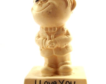 Vintage 1970s figurine I love you because your you Plastic statue