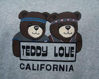 Teddy Bear Sweatshirt Vintage 1980s Love California Sweat shirt Medium