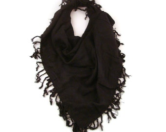 Black Fringe Scarf Vintage 1980s Fringed Black woven Rayon Square