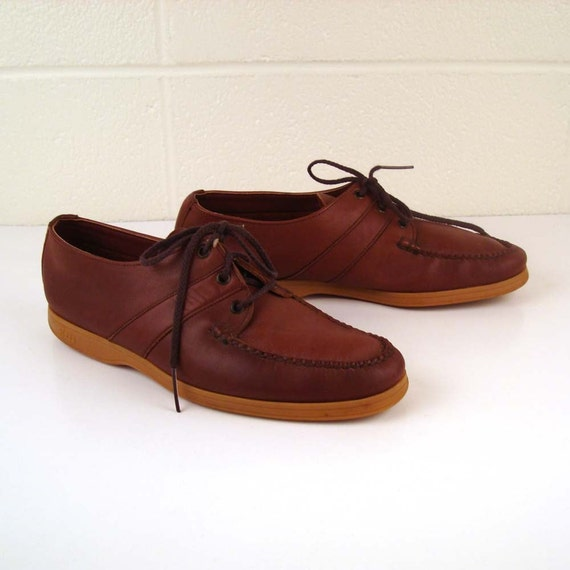 Vintage 1970s Bass Weejuns Oxford Lace Up Burgundy Leather Men's 9 1/2