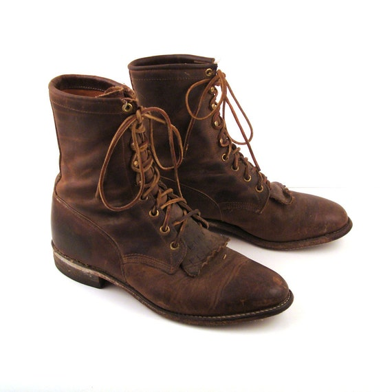 Roper Boots Brown Lacers Lace Up Justin Vintage 1990s Justin Roper Leather Oiled Brown Granny Lace up Boots Men's 7 1/2 D