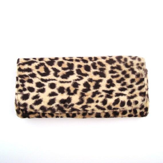 Clutch Purse Leopard Vintage 1950s Faux Fur