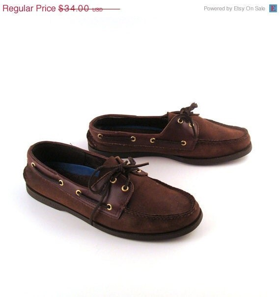 Boat Shoes Sperry Topsider Vintage 1990s Dark Brown two tone