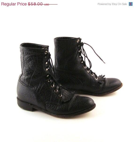 black roper boots vintage lace up boots s size 8 1 2