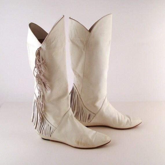 Fringe White Boots Vintage 1980s Flat White Leather Fringe