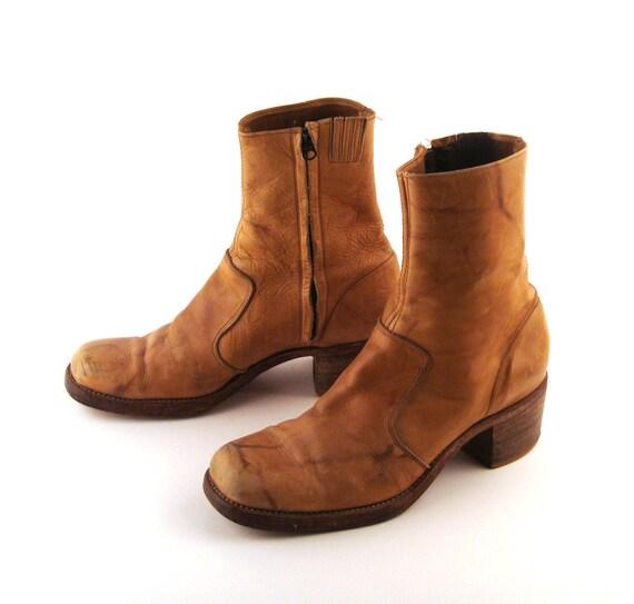 Leather Campus Boots Vintage 1970s Tan BrownShort Ankle Men's size 12
