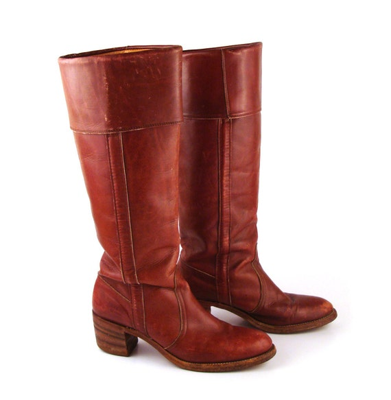 Frye Boots Vintage 1980s Stacked Heel Whiskey Burgundy Brown Leather Women's size 9