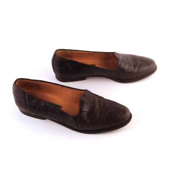 Alligator Shoes Cole Haan Flats Vintage 1980s Alligator Leather Shoes