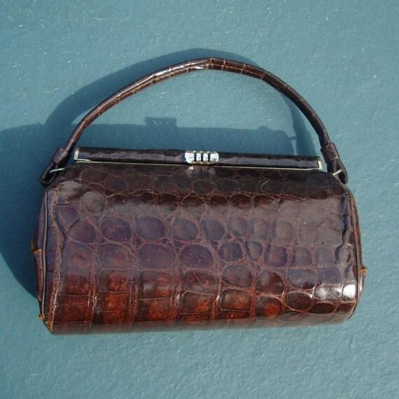 Vintage 1950s Alligator Purse Handbag By Purevintageclothing