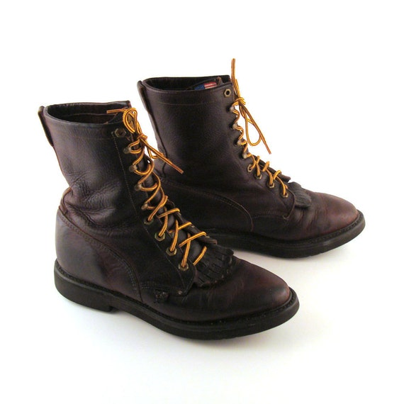 brown roper boots vintage 1980s lace up boots justin s