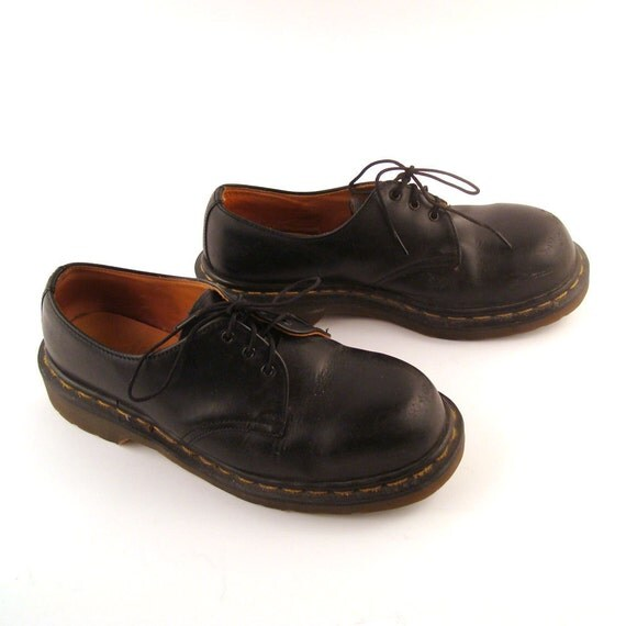 Doc Marten Oxfords Vintage 1990 Doc Martens Black Leather Steel Toe Shoes UK size 5