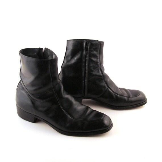 Black Ankle Boots Vintage 1970s Beatle Boots Black Leather Short Ankle Men's 10 1/2