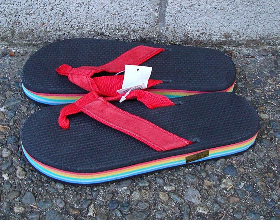 Vintage 1980s Deadstock Rainbow Flip Flops Thongs Sandals