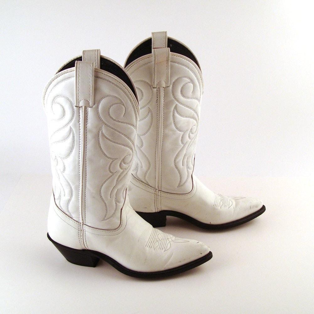 cowboy boots white vintage 1980s santa fe by