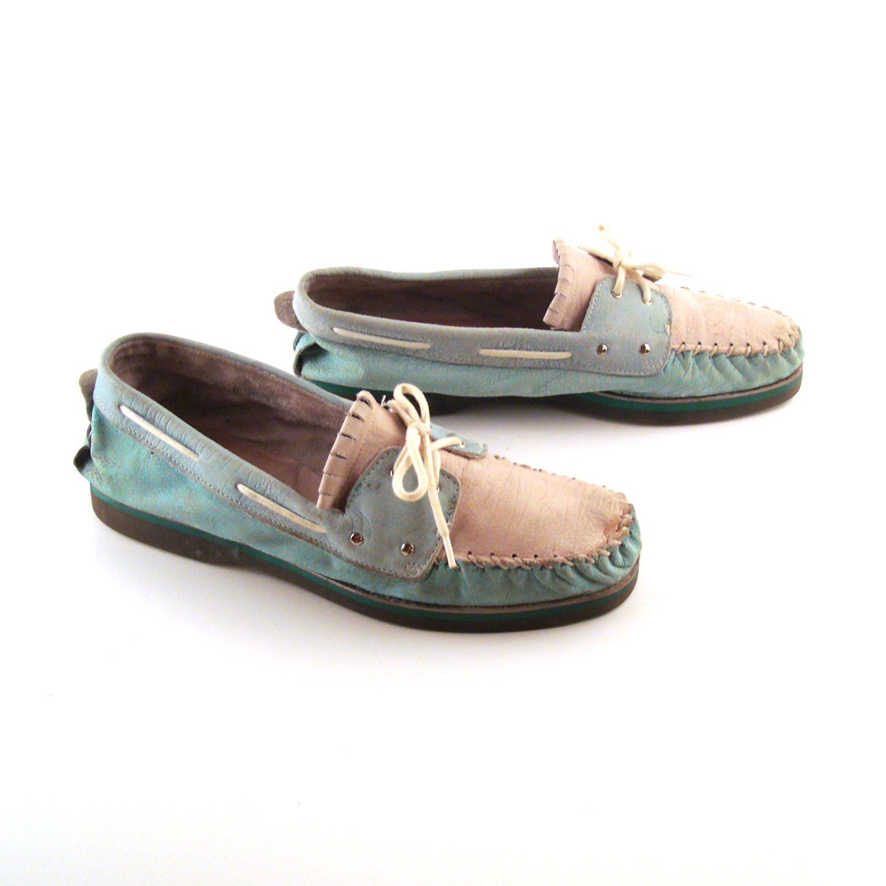 Zodiac Boat Shoes Vintage 1980s Mens Teal and Off White