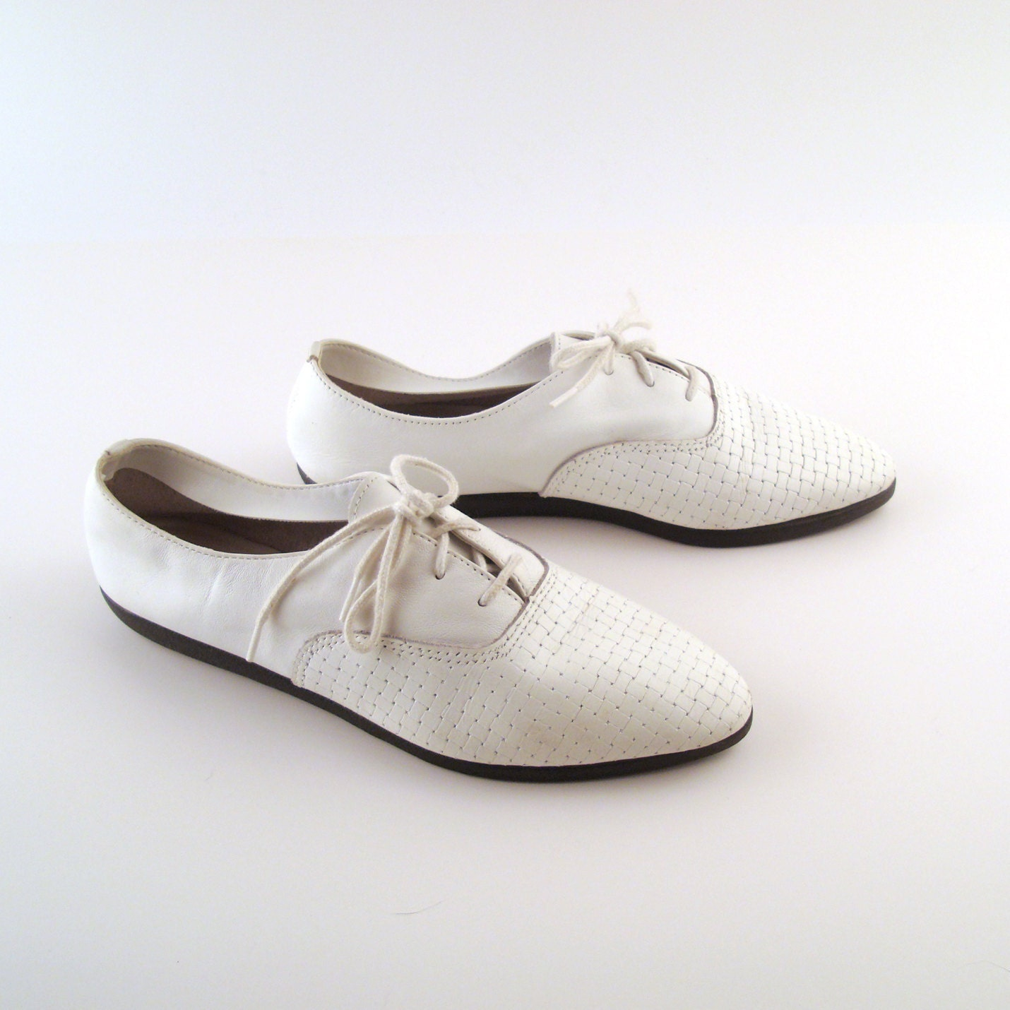 Women S Oxfords White Leather Vintage 1980s Shoes