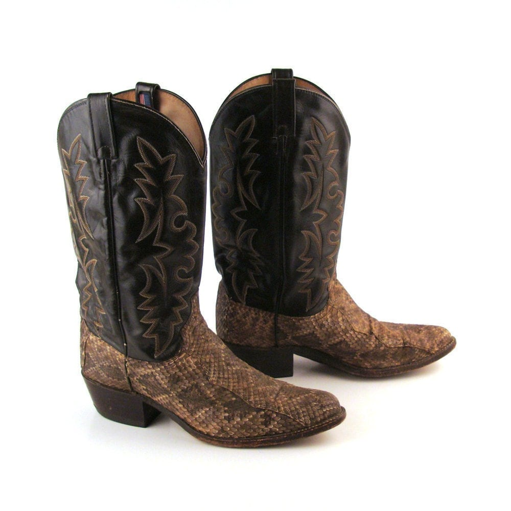 Cowboy boots snakeskin dan post vintage by purevintageclothing