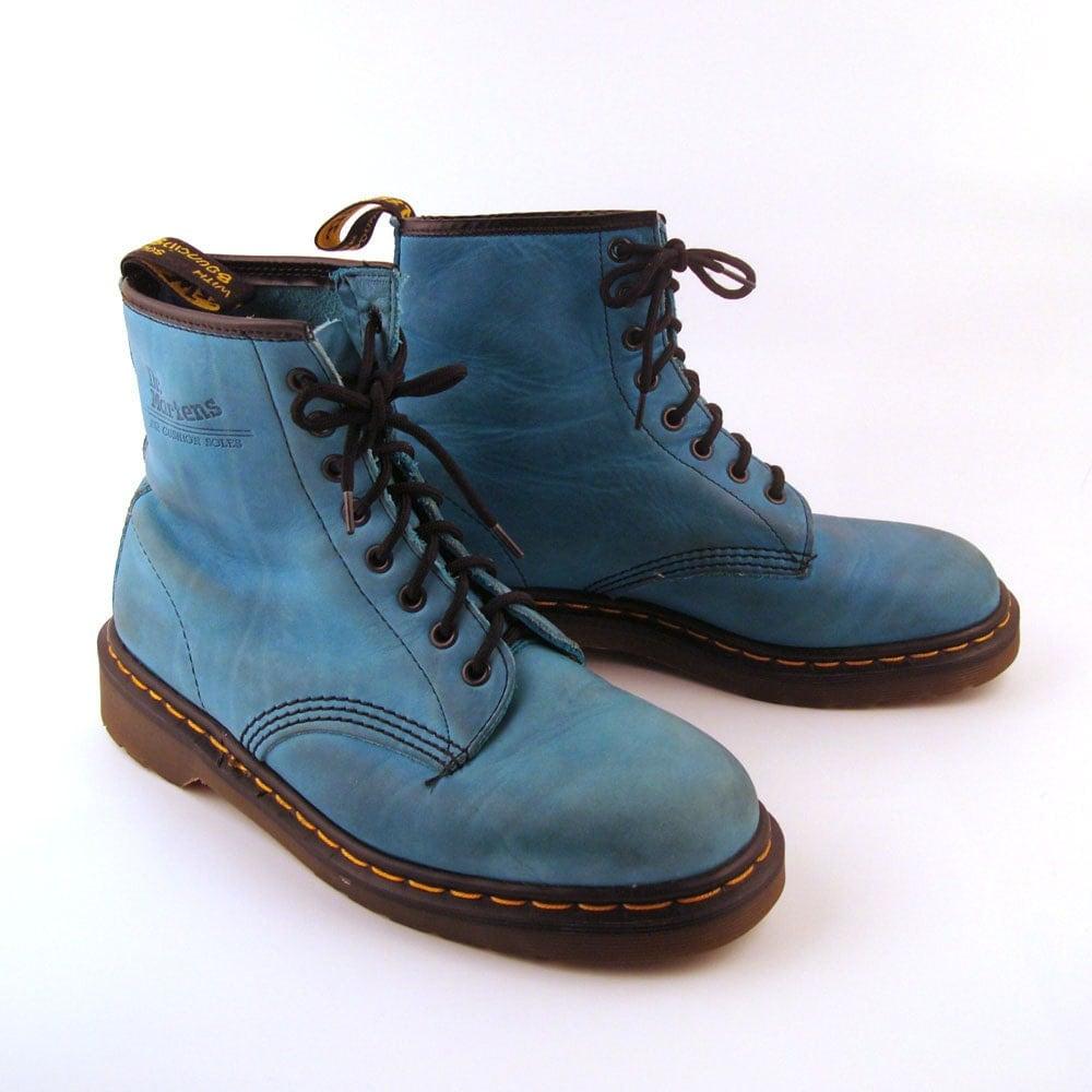 doc martens boots vintage 1990 teal blue dr martens boots uk