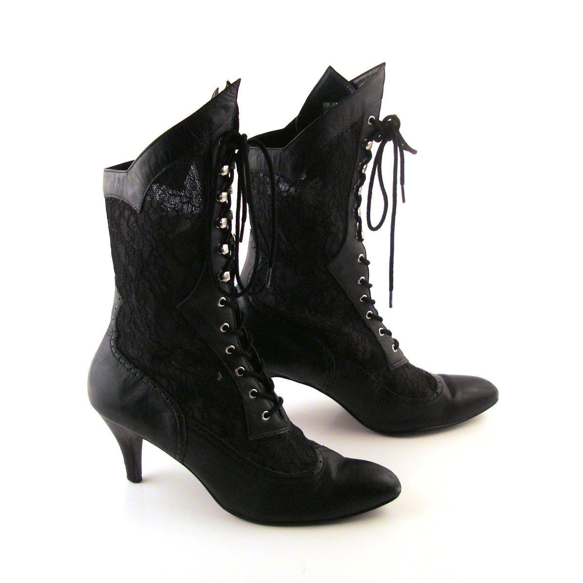 Aug 13,  · Take your boot game to new heights with these black faux leather boots with lace-up and zipper closure. 24