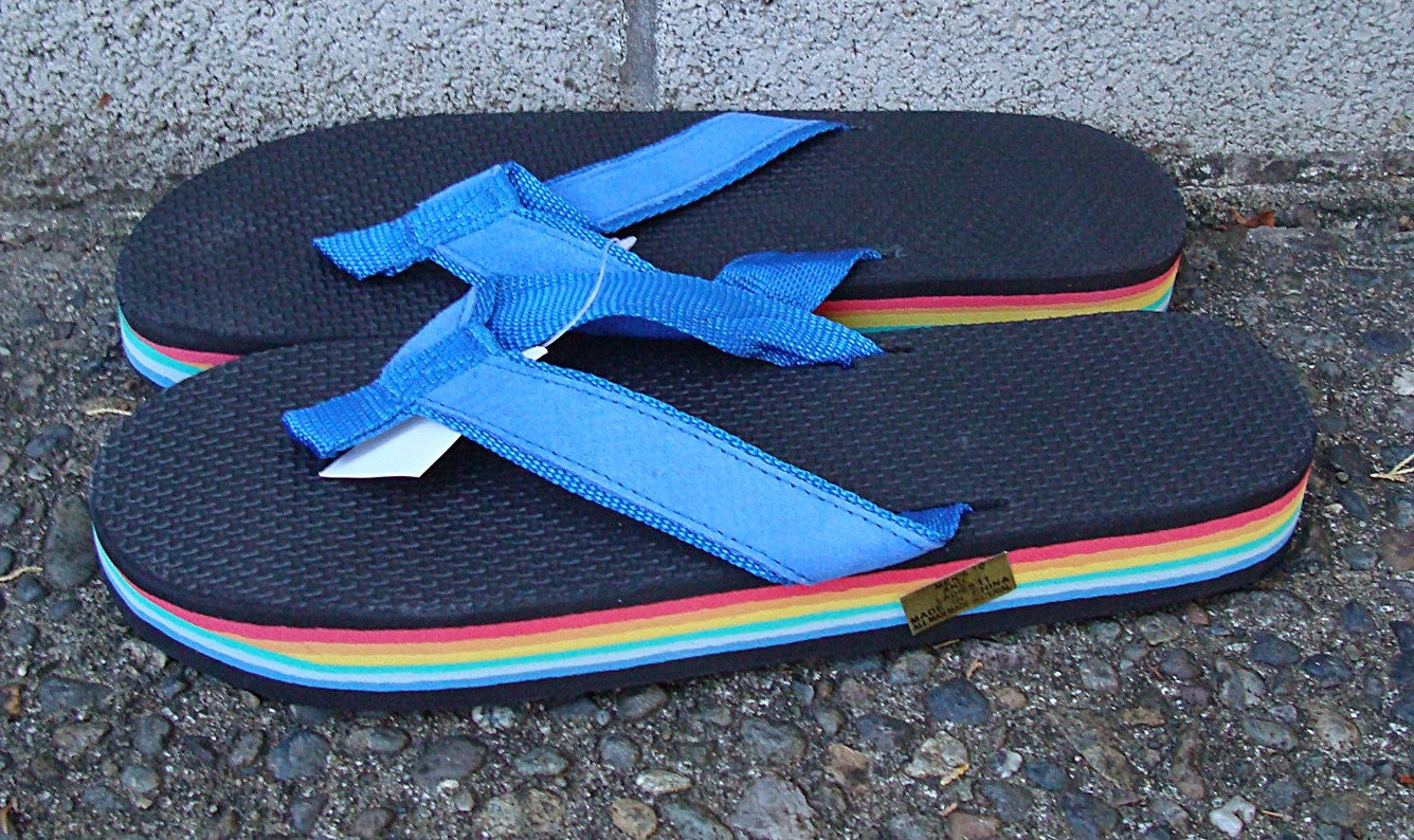 Vintage 1980s Deadstock Rainbow Flip Flops Thongs Sandals