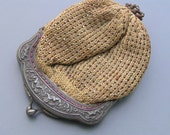 Antique Victorian Coin Purse Silver Cut Steel Cherub Wool pouch