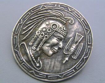 Vintage tribal Pin Brooch Pendant  850 Silver Tribal Warrior Bird  Jewelry