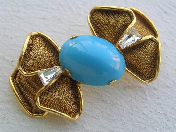 Rare 1960's Scaasi Gold tone Turquoise Glass Crystal Pin Brooch Jewlery