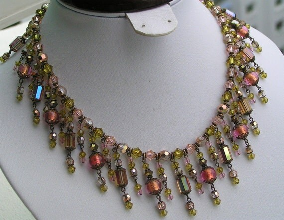 Reserved RARE Signed  LADYBEADS Crystal Foil Glass BIB necklace