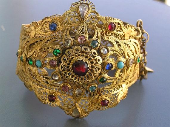 WIDE Antique Victorian Gold Gilt Filigree Etruscan Oriental  Paste Rhinestone Bangle Bracelet