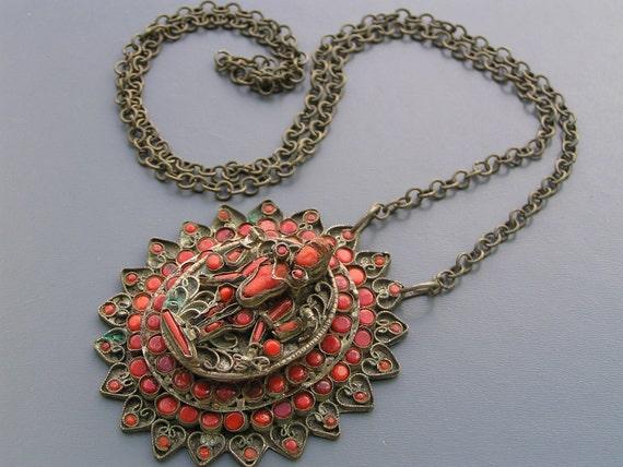 RESERVED Fabulous Old Tibetan Coral Buddha KeepSake Locket Gau Box Necklace Jewelry