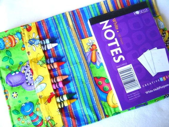 Fabric Crayon Travel Book, Crayola Crayons and Drawing Pad with a Bug Designed Fabric
