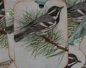 Glittered Vintage Postcard Winter Bird Gift Tags