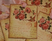 PARIS French Rose Vintage Post Card Hang Gift Tags