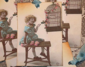 Vintage Post Card Bird Lover Gift Tags