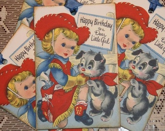 Cowgirl Birthday Gift Tags