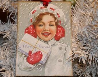 Vintage Christmas Gift Tags, Merry Christmas Winter Snow Gal Gift Tags, Hang Tags