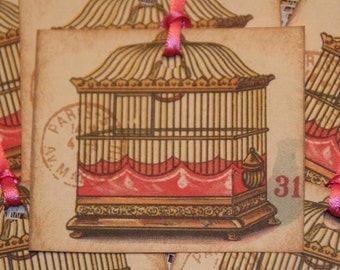 Bird Cage Gift Tags Paris Inspired Vintage Postcard