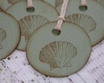 Beach Wedding Sea Shell Tags  Beach Wedding Favor Tags