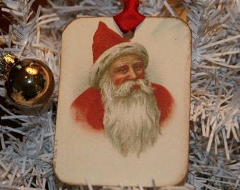 Vintage Old World Santa Christmas Tags