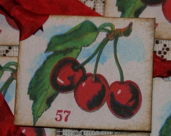 Sweet Cherries Vintage Image Gift Tags