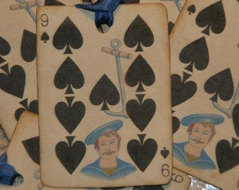 The 9 of Spades Vintage Playing Card Tags