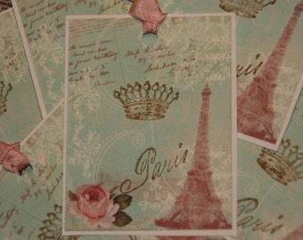 Eifel Tower Tags, Ooolala Paris French Vintage Inspired Eifel Tower Paris Rose Hang Gift Tags