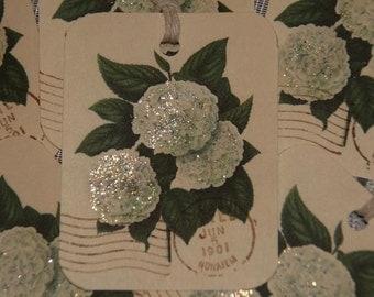 White Hydrangeas Glittered Gift Tags