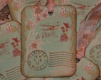Fly Away To Paris French Inspired Hang Gift Tags