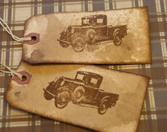 Grungy Distressed looking Gift Tags of a Model A Ford Pick Up Truck
