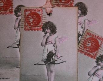 Pink Cupid Vintage Paris Postcard Gift Tags