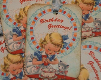 Little Girl Birthday Tags Birthday Cake Greetings Gift Tags