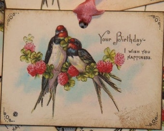 Birthday Gift Tags, Sweet  Birds Wishing Happiness Gift Tags, Birthday Gift Wrap, Birthday Gift Tags
