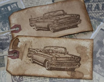 1957 Chevy Belair distressed Gift Tags
