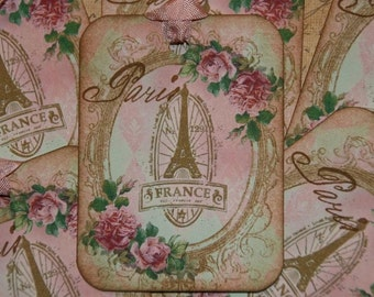 Shabby Pink Vintage Paris France Gift Tags